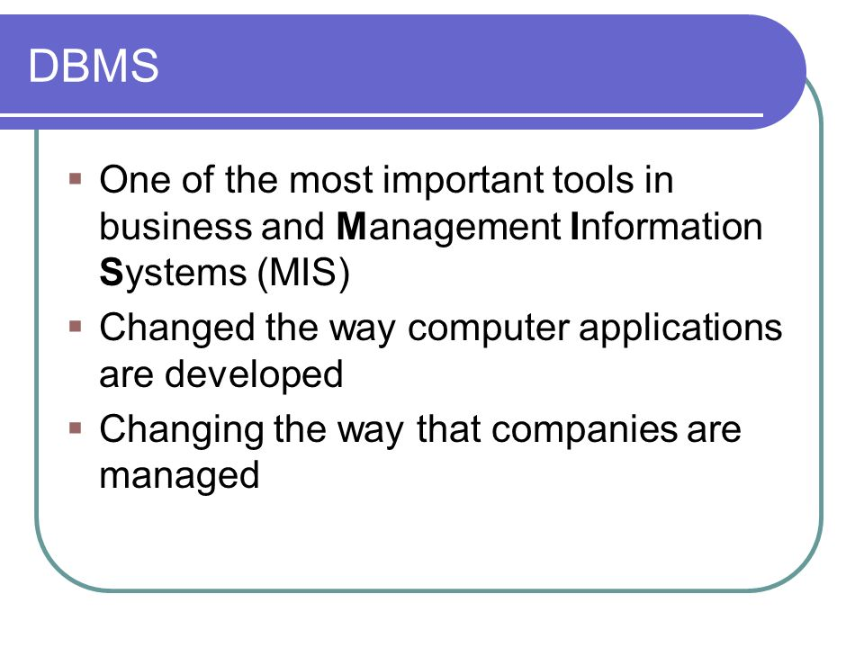 what is database management system dbms