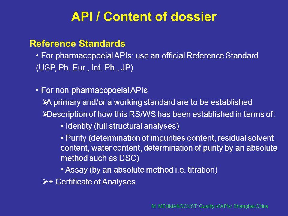 M  MEHMANDOUST/ Quality of APIs/ Shanghai-China Quality of