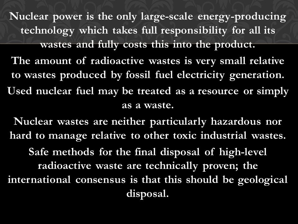 Nuclear power is the only large-scale energy-producing technology which takes full responsibility for all its wastes and fully costs this into the product.