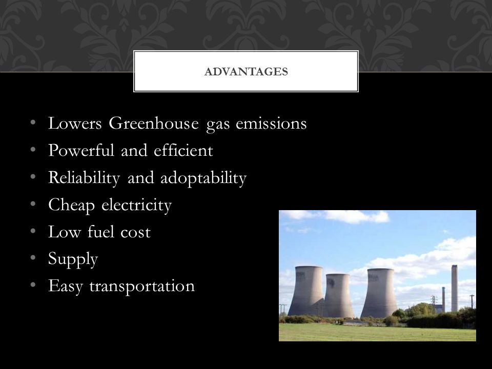 Lowers Greenhouse gas emissions Powerful and efficient Reliability and adoptability Cheap electricity Low fuel cost Supply Easy transportation ADVANTAGES