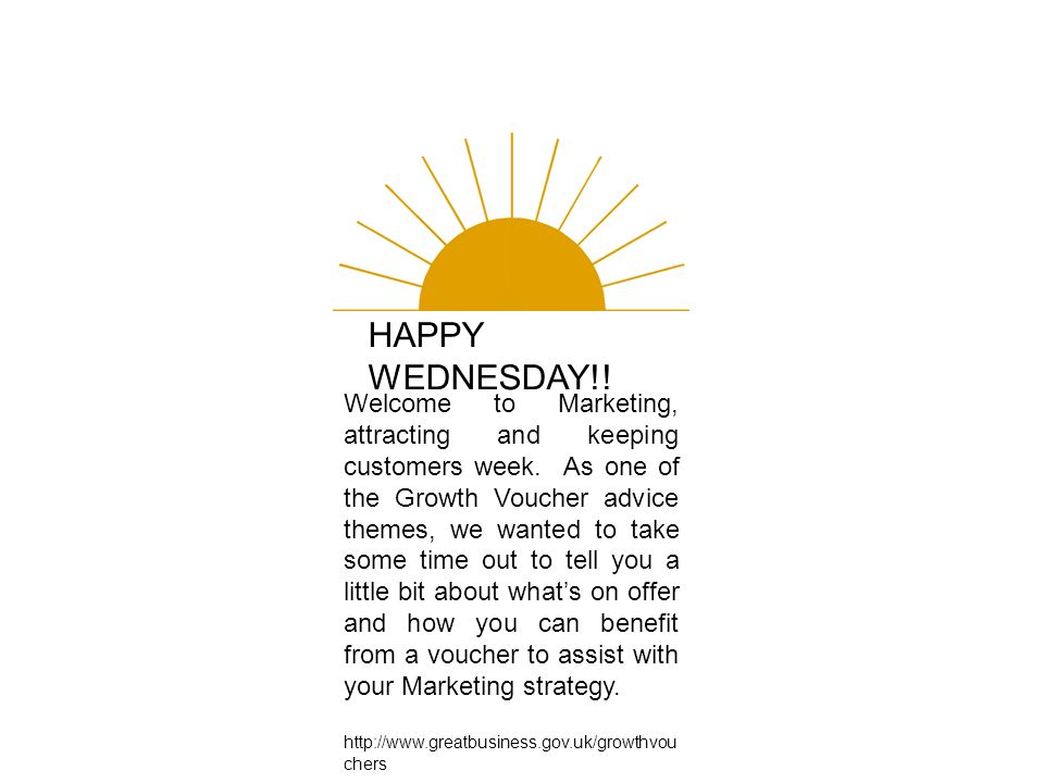 HAPPY WEDNESDAY!. Welcome to Marketing, attracting and keeping customers week.