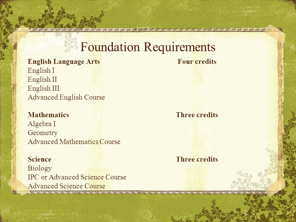Foundation Requirements English Language Arts Four credits English I English II English III Advanced English Course Mathematics Three credits Algebra I Geometry Advanced Mathematics Course Science Three credits Biology IPC or Advanced Science Course Advanced Science Course