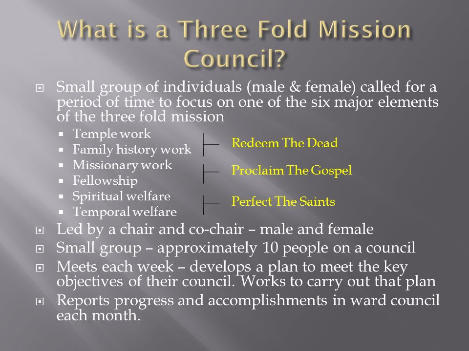  Small group of individuals (male & female) called for a period of time to focus on one of the six major elements of the three fold mission  Temple work  Family history work  Missionary work  Fellowship  Spiritual welfare  Temporal welfare  Led by a chair and co-chair – male and female  Small group – approximately 10 people on a council  Meets each week – develops a plan to meet the key objectives of their council.