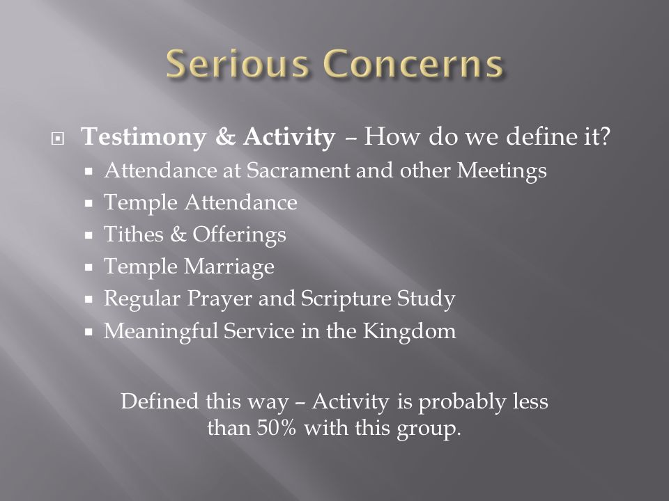  Testimony & Activity – How do we define it.
