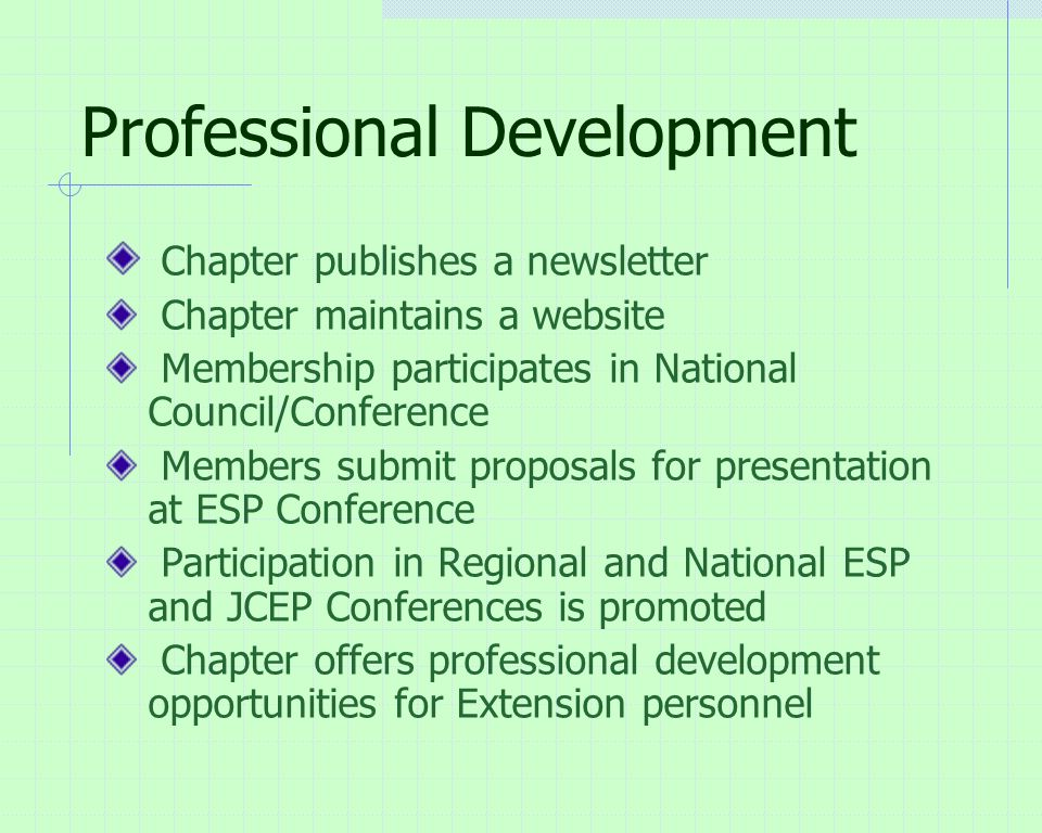 Professional Development Chapter publishes a newsletter Chapter maintains a website Membership participates in National Council/Conference Members submit proposals for presentation at ESP Conference Participation in Regional and National ESP and JCEP Conferences is promoted Chapter offers professional development opportunities for Extension personnel