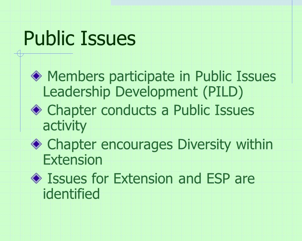Public Issues Members participate in Public Issues Leadership Development (PILD) Chapter conducts a Public Issues activity Chapter encourages Diversity within Extension Issues for Extension and ESP are identified