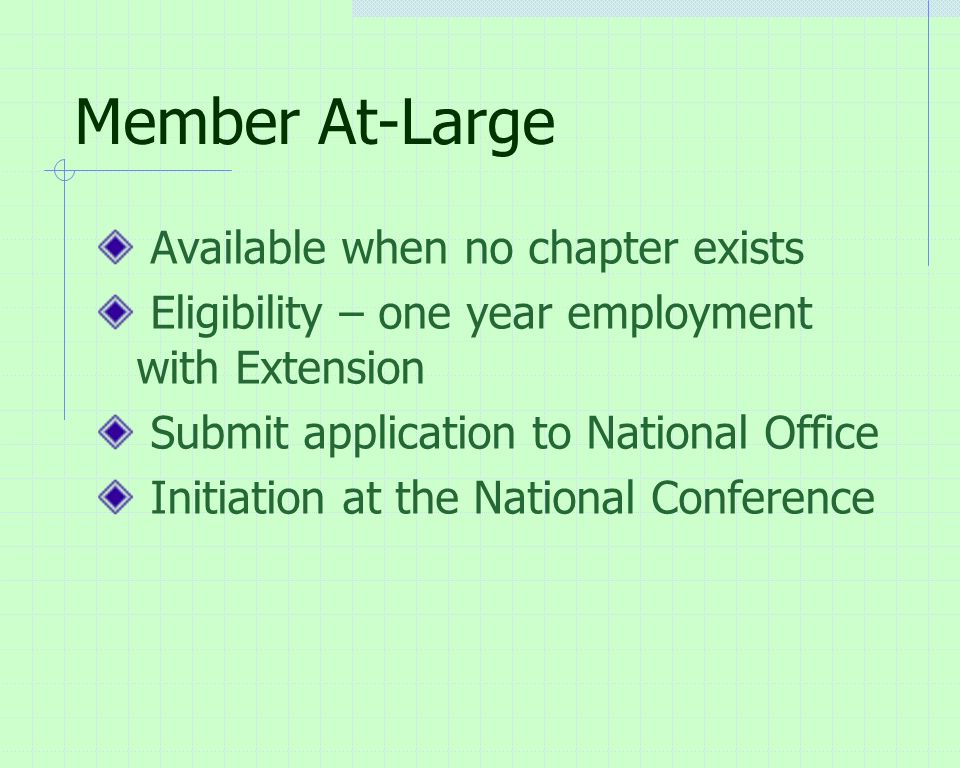 Member At-Large Available when no chapter exists Eligibility – one year employment with Extension Submit application to National Office Initiation at the National Conference