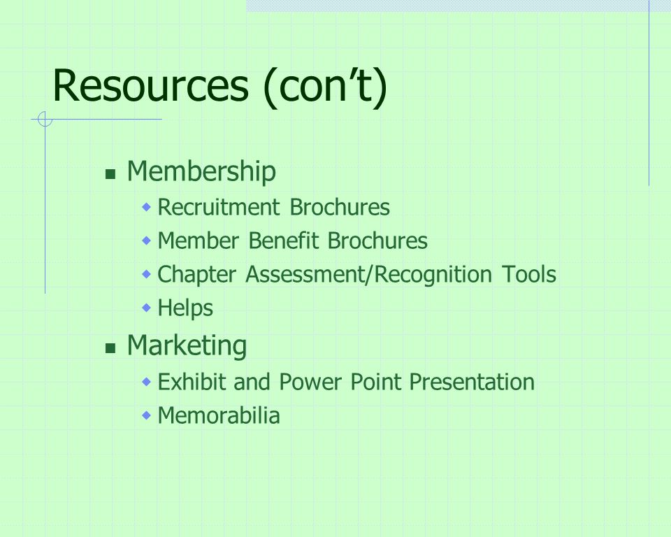 Resources (con't) Membership  Recruitment Brochures  Member Benefit Brochures  Chapter Assessment/Recognition Tools  Helps Marketing  Exhibit and Power Point Presentation  Memorabilia