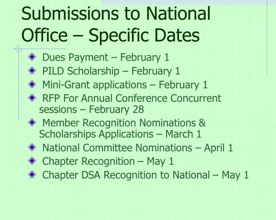 Submissions to National Office – Specific Dates Dues Payment – February 1 PILD Scholarship – February 1 Mini-Grant applications – February 1 RFP For Annual Conference Concurrent sessions – February 28 Member Recognition Nominations & Scholarships Applications – March 1 National Committee Nominations – April 1 Chapter Recognition – May 1 Chapter DSA Recognition to National – May 1