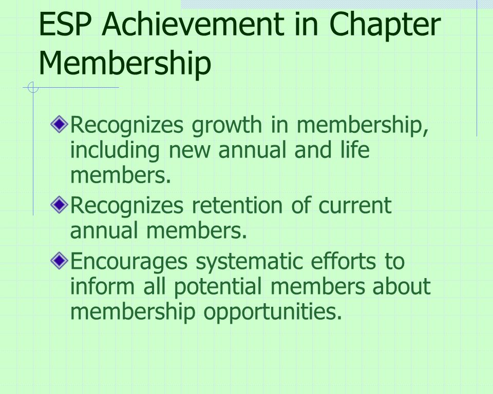 ESP Achievement in Chapter Membership Recognizes growth in membership, including new annual and life members.