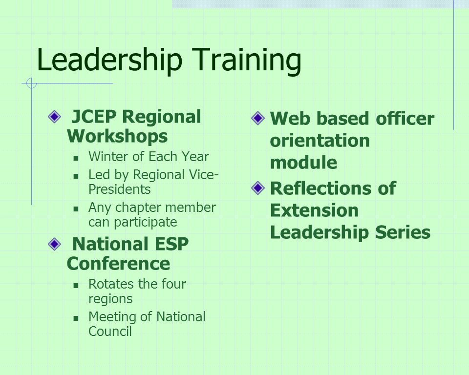 Leadership Training JCEP Regional Workshops Winter of Each Year Led by Regional Vice- Presidents Any chapter member can participate National ESP Conference Rotates the four regions Meeting of National Council Web based officer orientation module Reflections of Extension Leadership Series