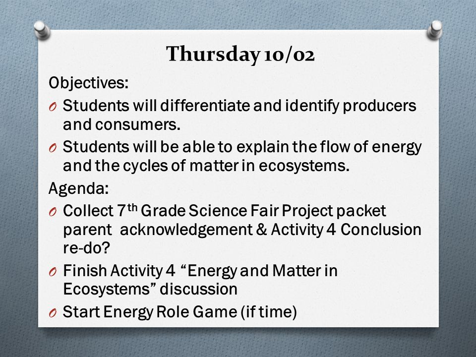 Thursday 10/02 Objectives: O Students will differentiate and identify producers and consumers.