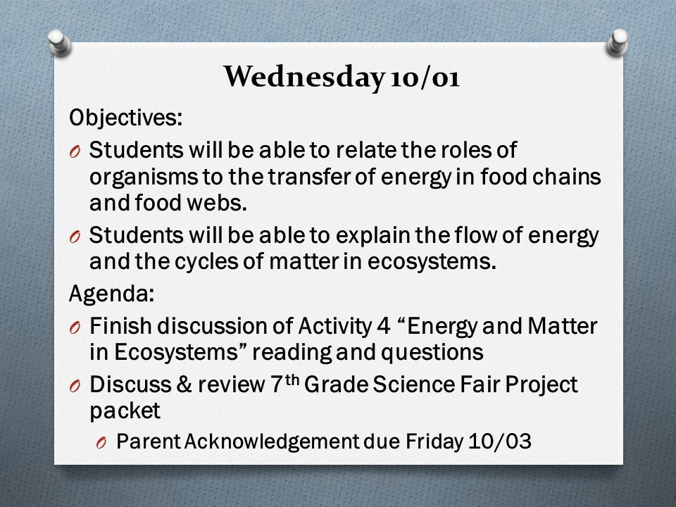 Wednesday 10/01 Objectives: O Students will be able to relate the roles of organisms to the transfer of energy in food chains and food webs.