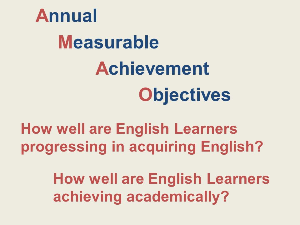 Annual Measurable Achievement Objectives How well are English Learners achieving academically.