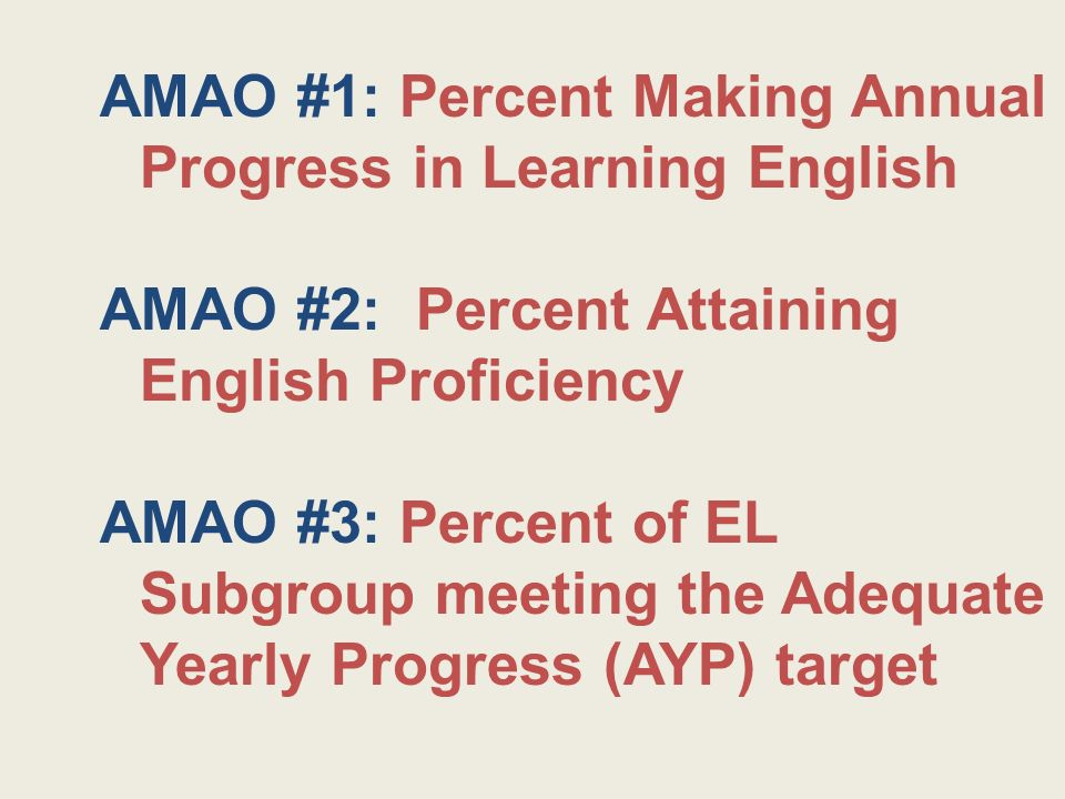AMAO #1: Percent Making Annual Progress in Learning English AMAO #2: Percent Attaining English Proficiency AMAO #3: Percent of EL Subgroup meeting the Adequate Yearly Progress (AYP) target