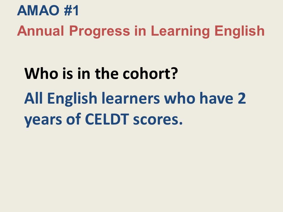 Who is in the cohort. All English learners who have 2 years of CELDT scores.