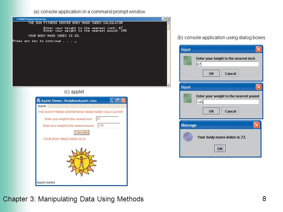 8 Chapter 3 Manipulating Data Using Methods B Console Application Dialog Boxes A In Command Prompt Window C Applet
