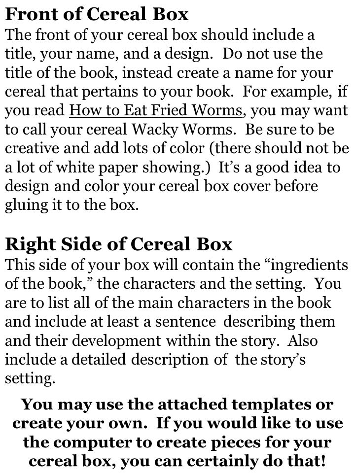 Front Of Cereal Box The Your Should Include A Title