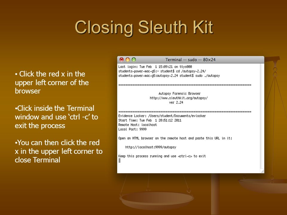 Analyzing an Image using MAC Systems Sleuth kit version