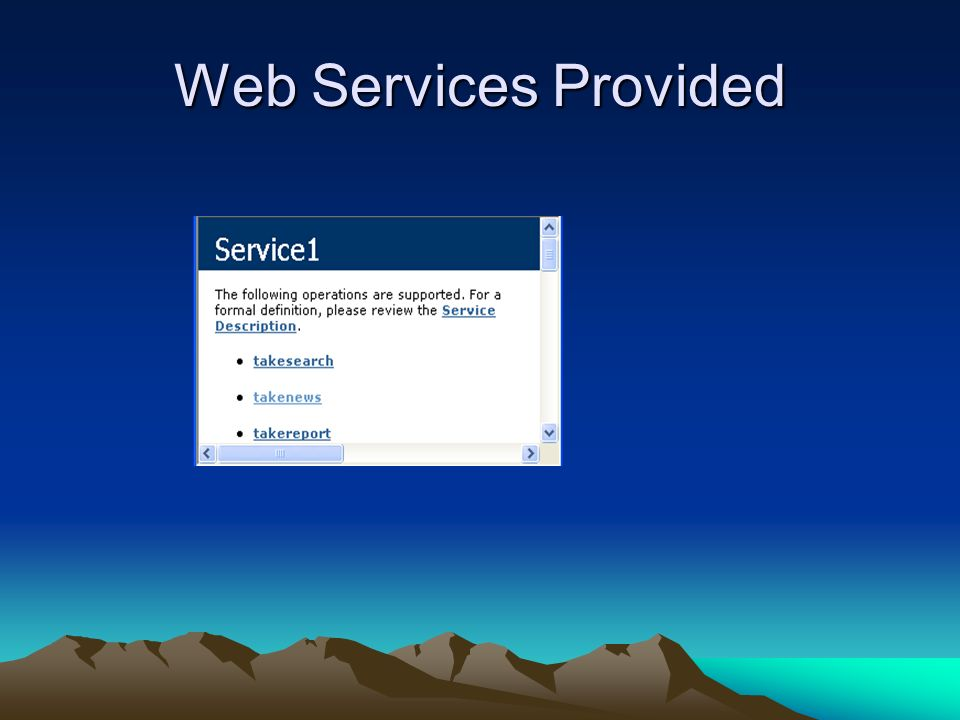 Web Services Provided