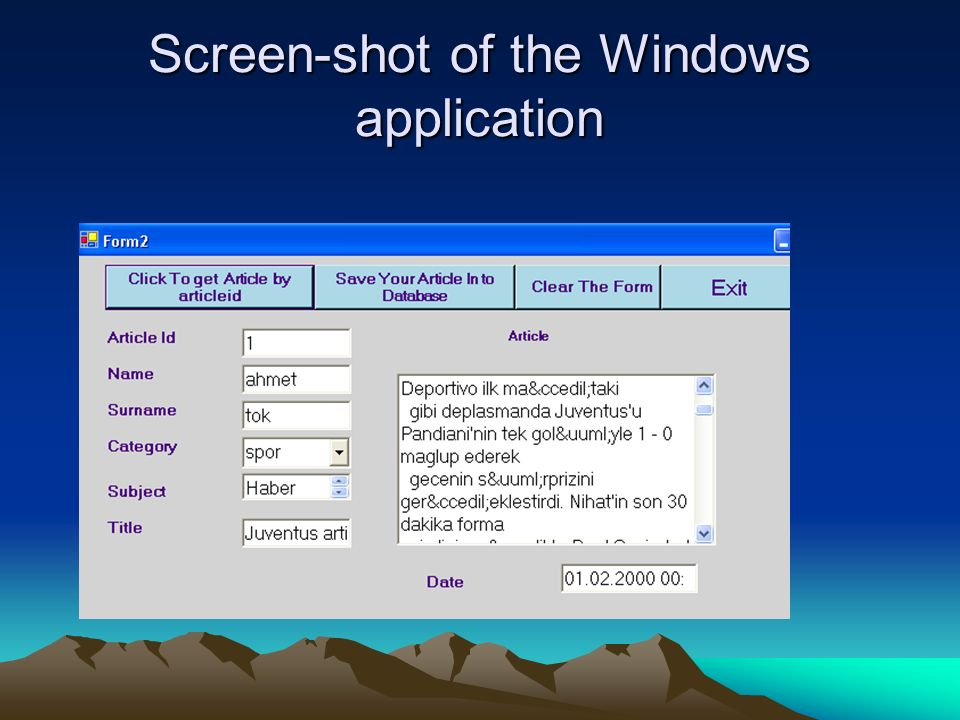 Screen-shot of the Windows application