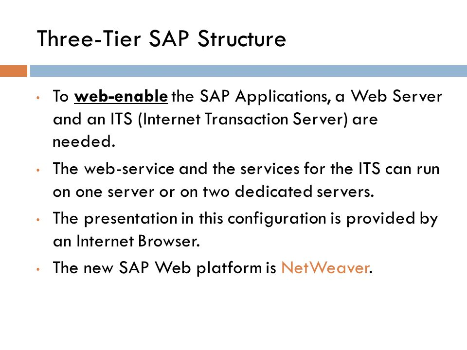 Three-Tier SAP Structure To web ‑ enable the SAP Applications, a Web Server and an ITS (Internet Transaction Server) are needed.
