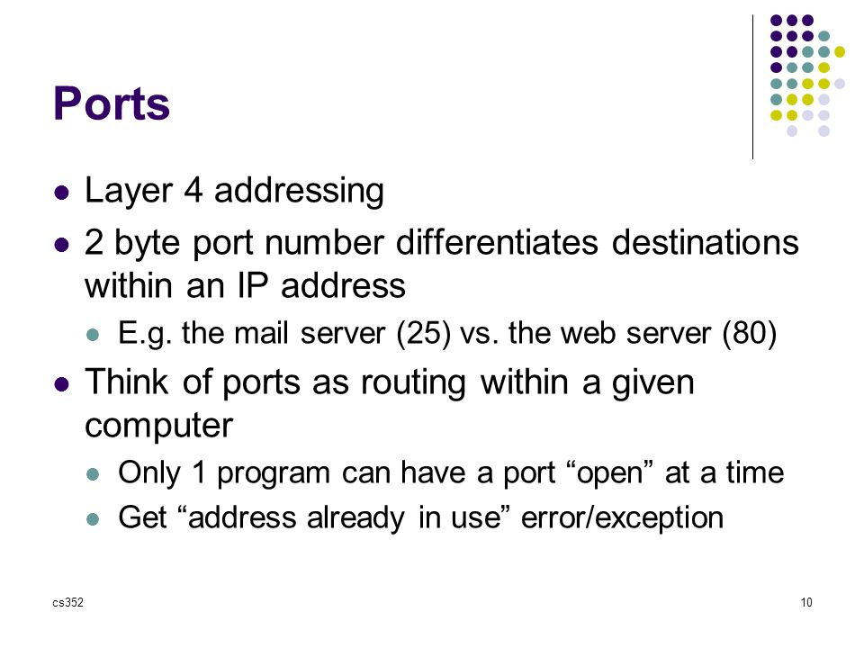 cs35210 Ports Layer 4 addressing 2 byte port number differentiates destinations within an IP address E.g.