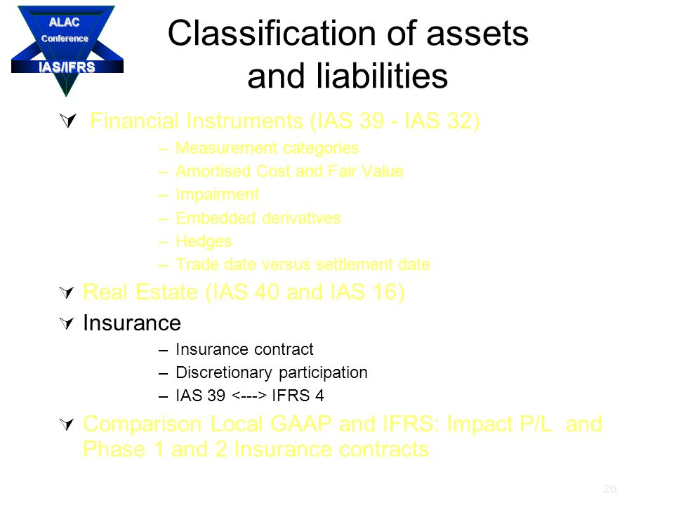 IAS/IFRS ALACConference 20 Classification of assets and liabilities  Financial Instruments (IAS 39 - IAS 32) –Measurement categories –Amortised Cost and Fair Value –Impairment –Embedded derivatives –Hedges –Trade date versus settlement date  Real Estate (IAS 40 and IAS 16)  Insurance –Insurance contract –Discretionary participation –IAS 39 IFRS 4  Comparison Local GAAP and IFRS: Impact P/L and Phase 1 and 2 Insurance contracts