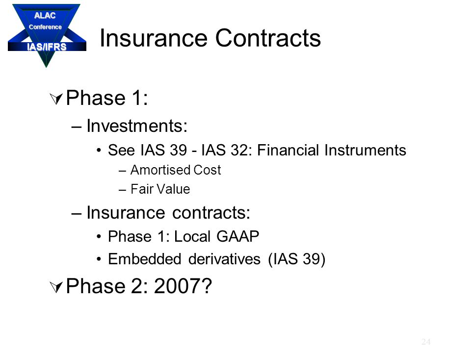 IAS/IFRS ALACConference 24 Insurance Contracts  Phase 1: –Investments: See IAS 39 - IAS 32: Financial Instruments –Amortised Cost –Fair Value –Insurance contracts: Phase 1: Local GAAP Embedded derivatives (IAS 39)  Phase 2: 2007