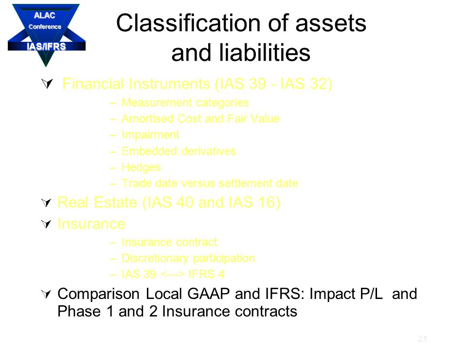 IAS/IFRS ALACConference 25 Classification of assets and liabilities  Financial Instruments (IAS 39 - IAS 32) –Measurement categories –Amortised Cost and Fair Value –Impairment –Embedded derivatives –Hedges –Trade date versus settlement date  Real Estate (IAS 40 and IAS 16)  Insurance –Insurance contract –Discretionary participation –IAS 39 IFRS 4  Comparison Local GAAP and IFRS: Impact P/L and Phase 1 and 2 Insurance contracts