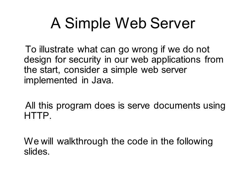 Web Security Programming I Building Security in from the