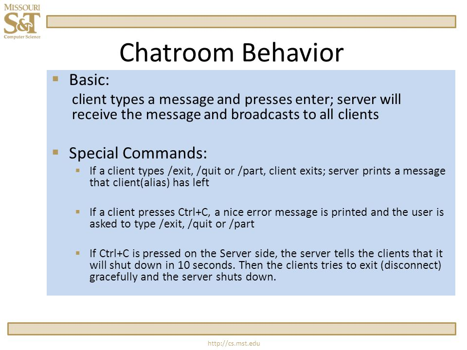 Chatroom Behavior  Basic: client types a message and presses enter; server will receive the message and broadcasts to all clients  Special Commands:  If a client types /exit, /quit or /part, client exits; server prints a message that client(alias) has left  If a client presses Ctrl+C, a nice error message is printed and the user is asked to type /exit, /quit or /part  If Ctrl+C is pressed on the Server side, the server tells the clients that it will shut down in 10 seconds.