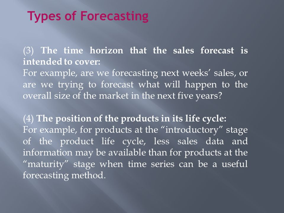 Sales Forecasting Introduction Sales forecasting is a