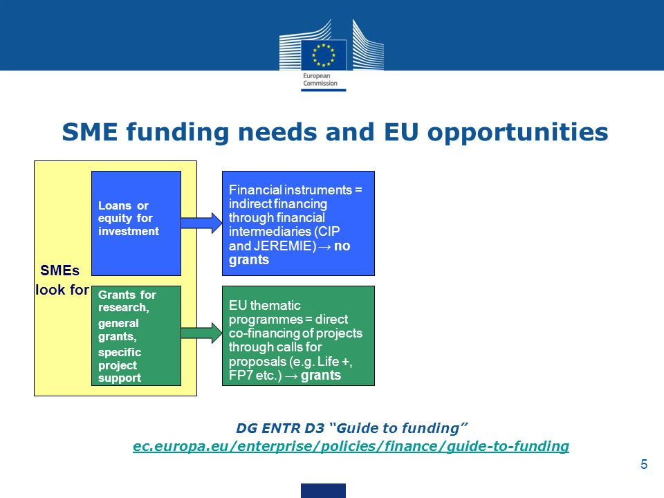 5 SME funding needs and EU opportunities Loans or equity for investment Grants for research, general grants, specific project support SMEs look for Financial instruments = indirect financing through financial intermediaries (CIP and JEREMIE) → no grants EU thematic programmes = direct co-financing of projects through calls for proposals (e.g.