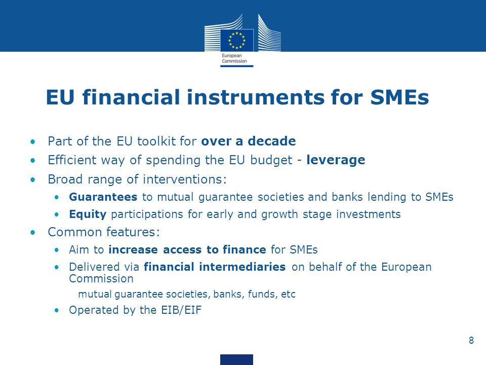 8 EU financial instruments for SMEs Part of the EU toolkit for over a decade Efficient way of spending the EU budget - leverage Broad range of interventions: Guarantees to mutual guarantee societies and banks lending to SMEs Equity participations for early and growth stage investments Common features: Aim to increase access to finance for SMEs Delivered via financial intermediaries on behalf of the European Commission mutual guarantee societies, banks, funds, etc Operated by the EIB/EIF