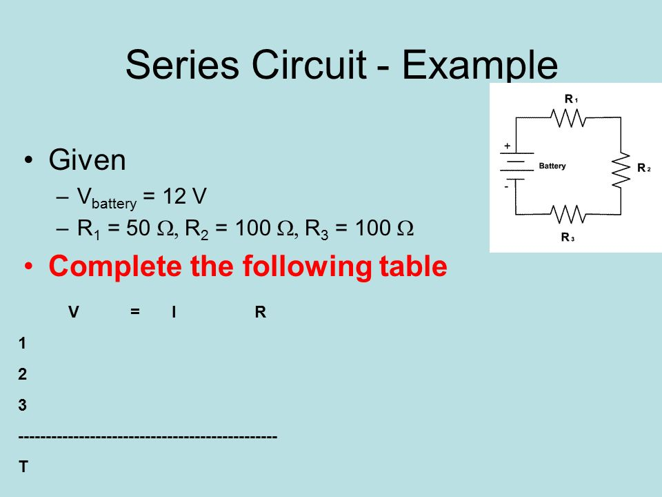 Series Circuit - Example Given –V battery = 12 V –R 1 = 50  R 2 = 100  R 3 = 100  Complete the following table V = I R T