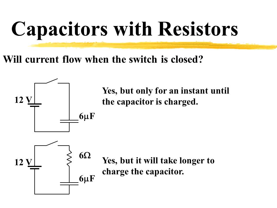 Capacitors with Resistors Will current flow when the switch is closed.
