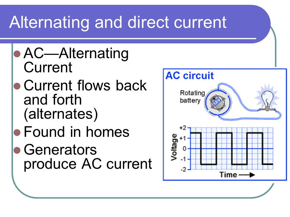 Alternating and direct current AC—Alternating Current Current flows back and forth (alternates) Found in homes Generators produce AC current