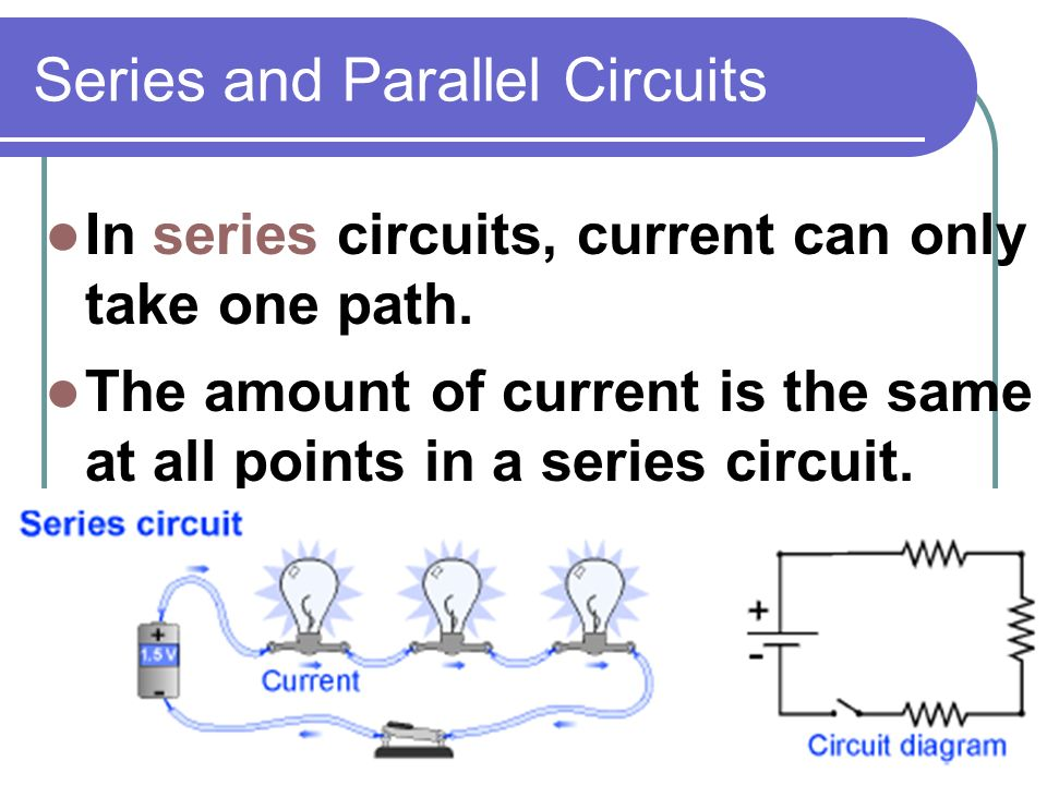 Series and Parallel Circuits In series circuits, current can only take one path.