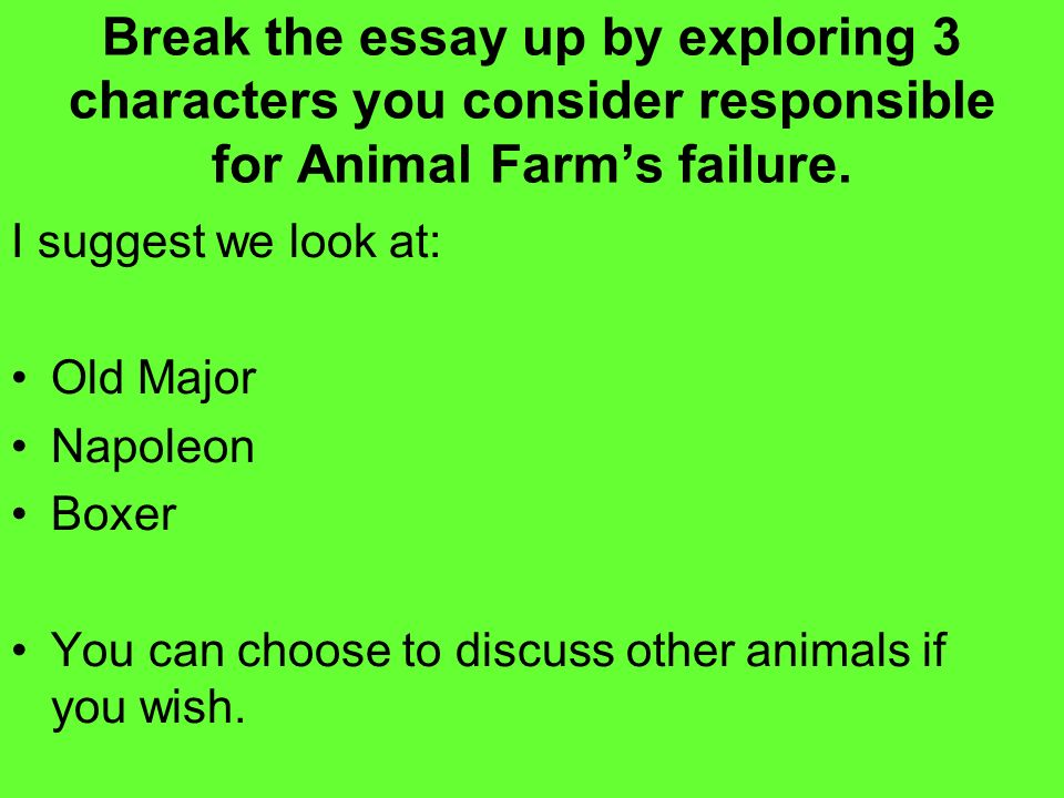 Animal Farm Writing A Critical Essay Question Animal Farm  Break The Essay Up By Exploring  Characters You Consider Responsible For Animal  Farms Failure