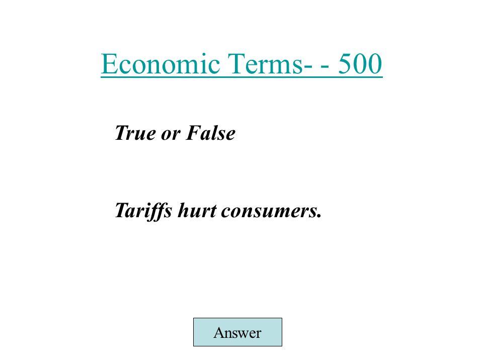 100 economic terms