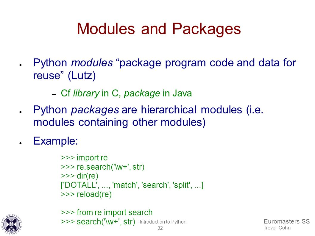 Euromasters SS Trevor Cohn Introduction to Python 1 Euromasters