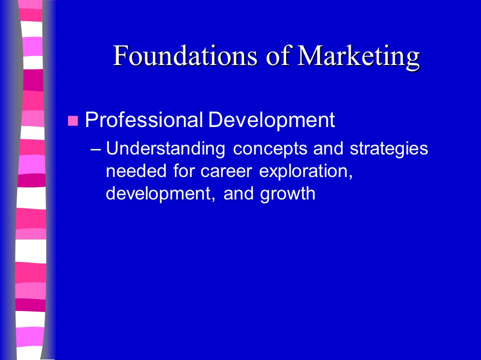 Foundations of Marketing Professional Development –Understanding concepts and strategies needed for career exploration, development, and growth