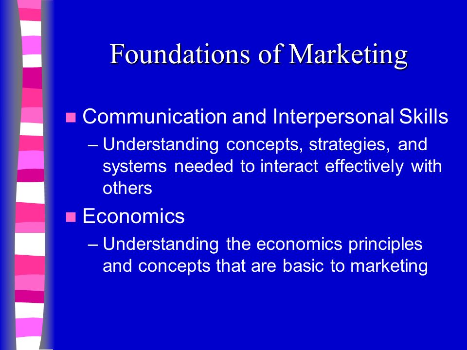 Foundations of Marketing Communication and Interpersonal Skills –Understanding concepts, strategies, and systems needed to interact effectively with others Economics –Understanding the economics principles and concepts that are basic to marketing