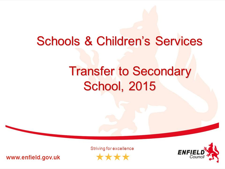 Schools & Children's Services Transfer to Secondary School, Striving for excellence