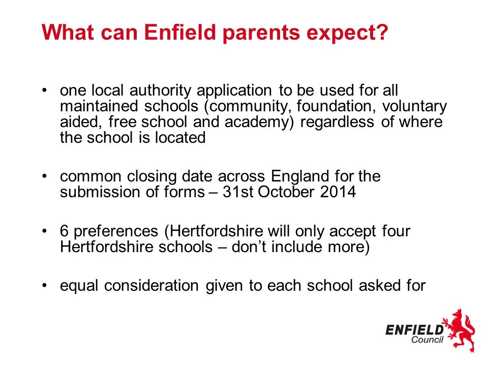 What can Enfield parents expect.