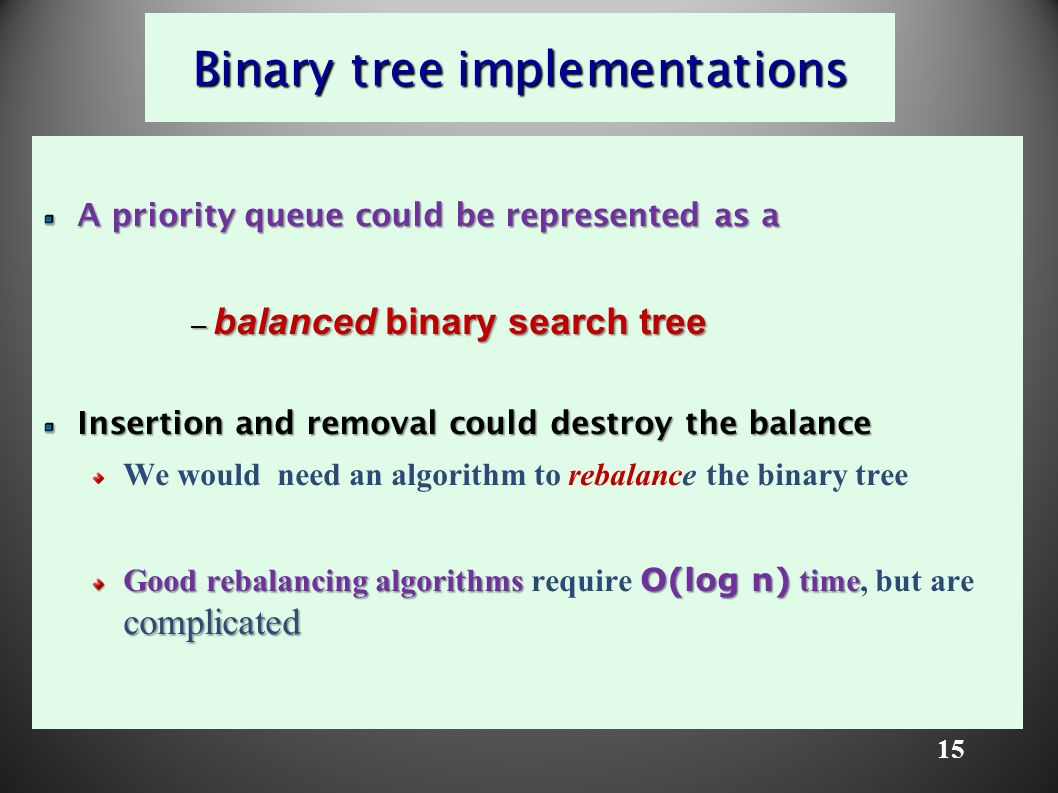 15 Binary tree implementations A priority queue could be represented as a – balanced binary search tree Insertion and removal could destroy the balance We would need an algorithm to rebalance the binary tree Good rebalancing algorithms O(log n) time complicated Good rebalancing algorithms require O(log n) time, but are complicated