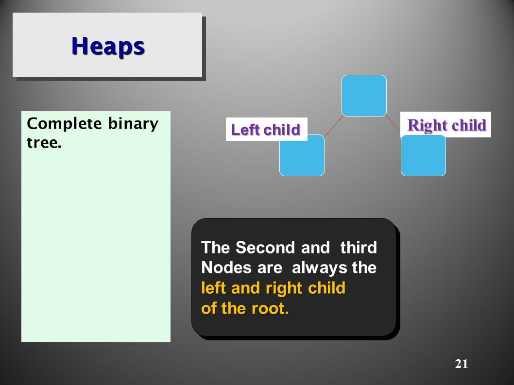 21 HeapsHeaps Complete binary tree.