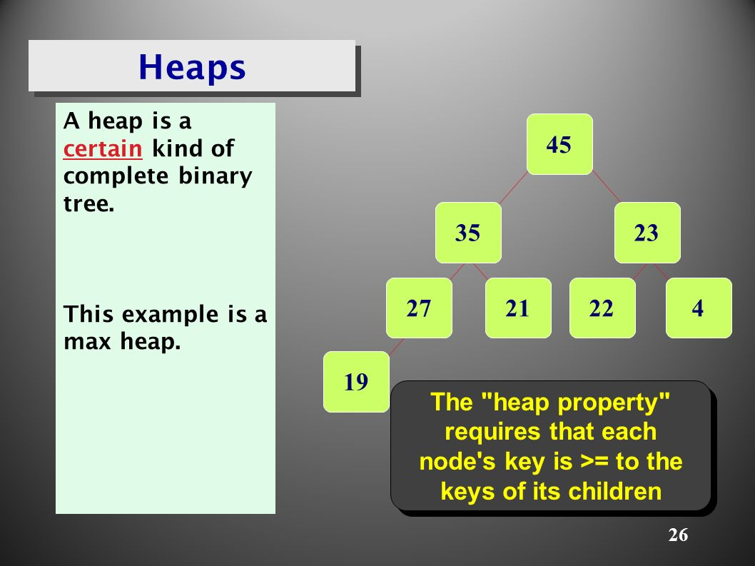 26 Heaps A heap is a certain kind of complete binary tree.