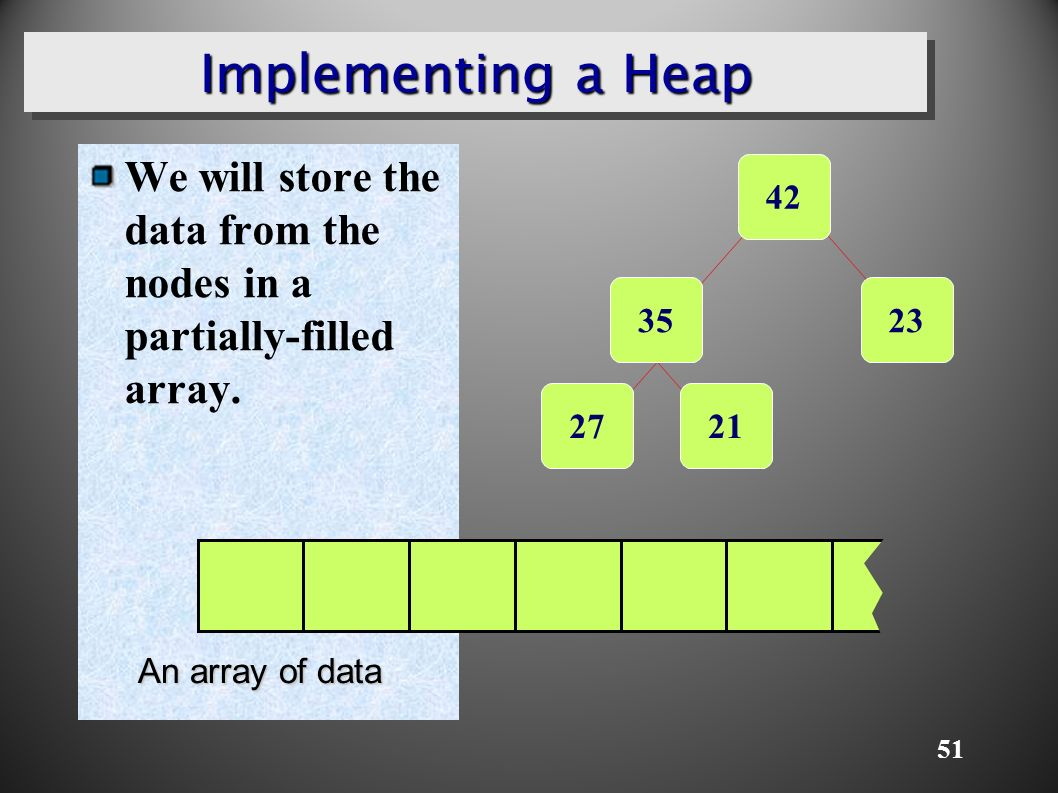 51 Implementing a Heap We will store the data from the nodes in a partially-filled array.